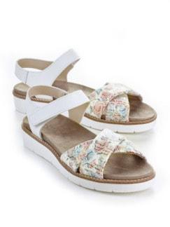 Hallux-Sandale Softness Weiß geblümt Detail 1