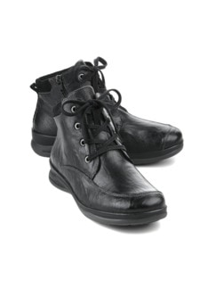 Hallux-Lammfell-Boots Sporty Schwarz Detail 1