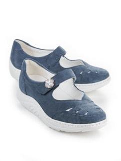 Rollsohlen-Klett-Ballerina Blau Detail 1