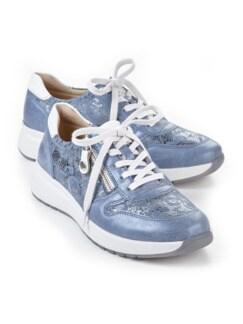 Hallux-Sneaker Fußglück Jeans/Silber gemustert Detail 1