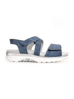 Bequem-Sandale Soft-Rollsohle Jeansblau Detail 2