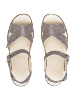 Klett-Sandalette Soft-Feeling Bronze Reptil Detail 3