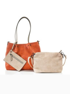 Bag-in-Bag Soft-Touch Orange/Taupe Detail 1