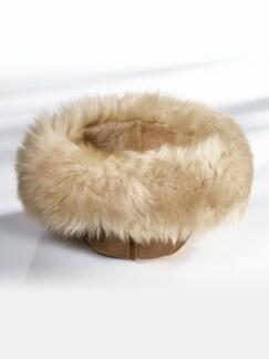 Lammfellmütze mit Fellrand Braun/Beige Detail 2