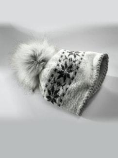 Norweger-Wollmütze Eisgrau Detail 1