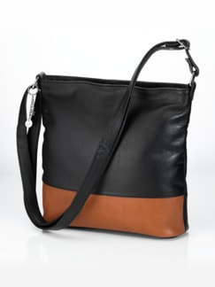 Ledertasche Bi-Color Schwarz/Cognac Detail 1
