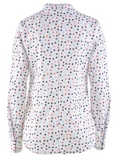 Bügelfrei-Bluse Kelchkragen Weiß gepunktet Detail 4