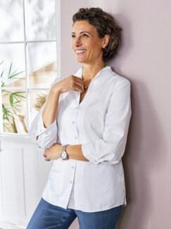 Komfort-Bluse Ultrastretch Weiß Detail 2