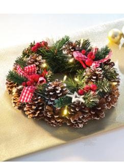 Weihnachtskranz LED-Zauber Grün/Rot Detail 1