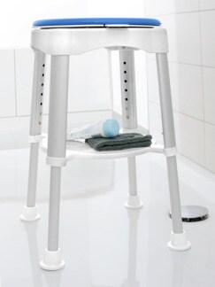 Badhocker mit 360° Drehsitz Blau/Weiß Detail 1