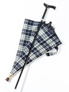 2 in1-Regenschirm mit Gehstock Blau kariert Detail 2