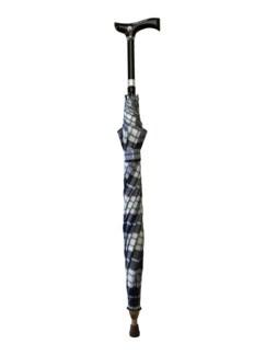 2 in1-Regenschirm mit Gehstock Blau kariert Detail 3