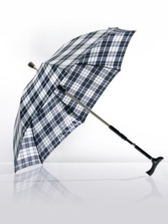 2 in1-Regenschirm mit Gehstock Blau kariert Detail 1