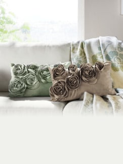 Samt-Kissenhülle Floral Taupe Detail 2