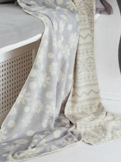 Winter-Fleece Decke Grau/Wollweiß Detail 1