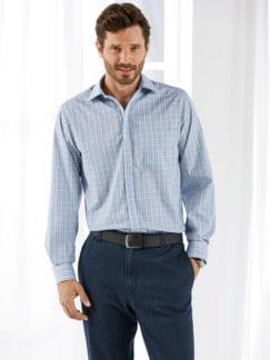 Extraglatt-Hemd Reißverschluss Blau kariert Detail 1
