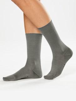 Baumwoll-Naturseide-Socken Silbergrau Detail 1