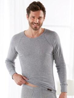 Winterwarm-Unisex-Shirt Langarm Grau meliert Detail 2