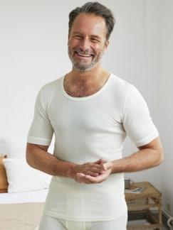 Baumwoll-Angora-Unterhemd Wollweiß Detail 1