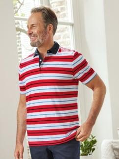 Kurzarm-Poloshirt Streifen Rot gestreift Detail 1