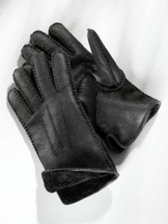 Lammfell-Fingerhandschuhe Schwarz Detail 1
