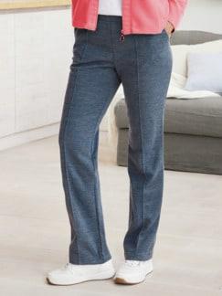 Damen Jersey-Haushose Jeansblau Detail 1