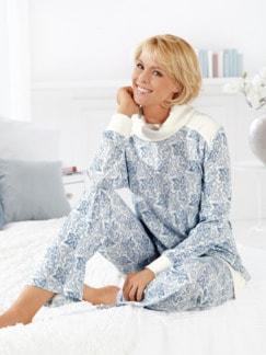 Schlafanzug Thermowärme Bleu/Weiß Detail 1