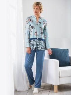 Soft-Schlafanzug Traumblüten Hellblau/Melange Detail 1