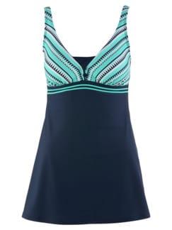Badekleid Sommerzeit Blau gemustert Detail 3