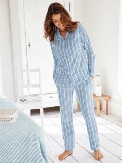 Klimasoft-Schlafanzug Pastellstr. Hellblau gestr. Detail 1