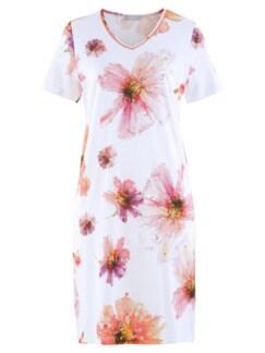 Nachthemd Sommerblüte Weiß geblümt Detail 2