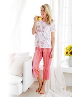 Klima-Schlafanzug Baumwolle Weiß/Rosa Detail 1