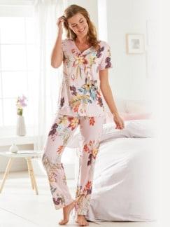 Supersoft-Schlafanzug Blumendessin Rosé geblümt Detail 1