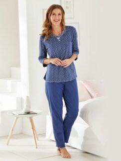 Soft-Schlafanzug Baumwolle Indigoblau/Weiß Detail 1
