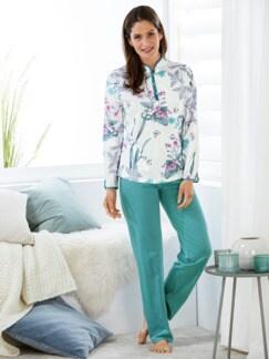 Soft-Baumwoll-Schlafanzug Hortensie Türkis Detail 1
