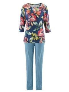 Seidenweich-Jersey-Schlafanzug Blau geblümt Detail 4