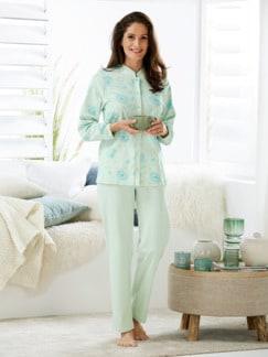 Thermo-Schlafanzug Blüten-Dessin Mint/Blau Detail 1