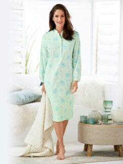 Thermo-Nachthemd Blüten-Dessin Mint/Blau Detail 1