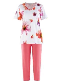 Schlafanzug Sommerblüte Weiß geblümt Detail 2