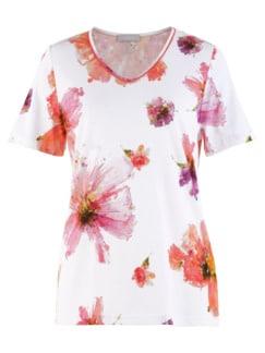 Schlafanzug Sommerblüte Weiß geblümt Detail 4