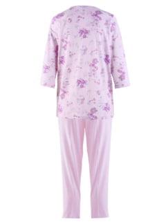 Baumwoll-Schlafanzug Blütendessin Rose geblümt Detail 3