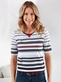 T-Shirt Maritim Weiß gestreift Detail 1