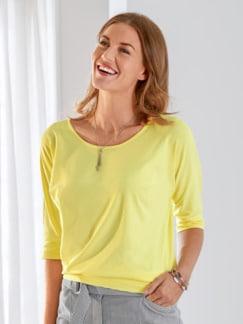 Klimasoft-Shirt Halbarm Zitronengelb Detail 2