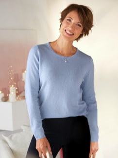 Kaschmir-Seide Premium Pullover Hellblau Detail 1