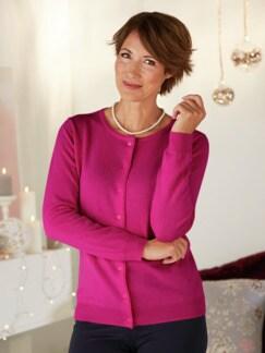 Kaschmir-Seide Premium Strickjacke Pink Detail 1