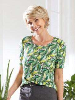 Aloe vera-Shirt Sommerfrische Grün gemustert Detail 2