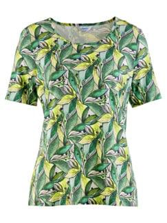Aloe vera-Shirt Sommerfrische Grün gemustert Detail 3