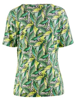Aloe vera-Shirt Sommerfrische Grün gemustert Detail 4