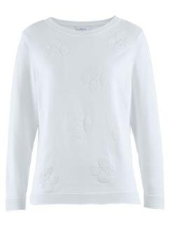 Pullover Blüten-Jacquard Seidenweiß Detail 3