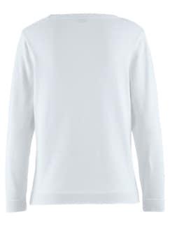 Pullover Blüten-Jacquard Seidenweiß Detail 4
